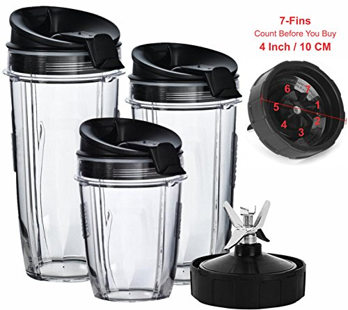 Nutri Ninja Blender Cups and Blade (7-FINS ONLY) Set | 7-Piece Replacement Parts & Accessories for Nutri Ninja Auto iQ BL482 BL642 NN102 BL682 BL2013 Blenders by Best Accessories