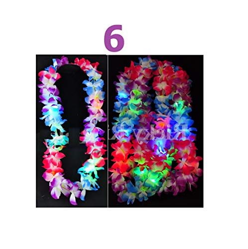 6 Love Gift Leis Hawaiian LED Luau Light Necklaces Flashing Rave Flower Vacation Quick Arrive