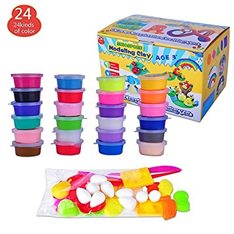 Modeling Magic Clay ,Sinospore Air Dry Clay Deluxe Kit, 24 Colors Ultra-Light Eco-friendly Educational DIY Creative Polymer Play Clay Toy with Tools