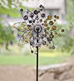 Gold And Silver Dots Metal Wind Spinner Weatherproof Outdoor Kinetic Windmill Sculptures 24 dia. x 5-1/2 D x 75 H