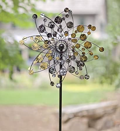 Gold And Silver Dots Metal Wind Spinner Weatherproof Outdoor Kinetic  Windmill Sculptures 24 Dia. X