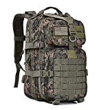 Military Tactical Assault Pack Backpack Army Molle Bug Out Bag Backpacks Rucksack for Outdoor Hunting Camping School 34L Small Woodland Camouflage