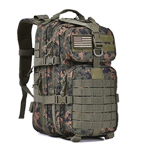 - REEBOW GEAR Military Tactical Assault Pack Backpack Army Molle Bug Bag Backpacks Rucksack for Outdoor Hunting Camping School 34L Small Woodland Camouflage