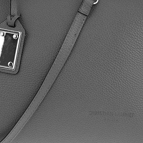 Christian Laurier - Sac à main en cuir modèle Avril gris - Sac à main haut de gamme fabriqué en Italie