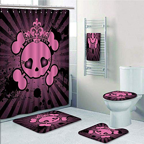Bathroom 5 Piece Set Shower Curtain 3D Print Customized,Skull,Cute Skull Illustration with Crown Dark Grunge Style Teen Spooky Halloween Print Decorative,Pink Black,Graph Customization Des]()