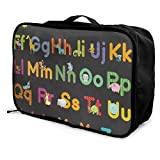 Travel Bags Animals Alphabet For Kids Portable Tote Great Trolley Handle Luggage Bag