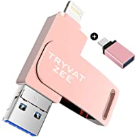 Tryvat Zee 128GB 3-in-1 USB 3.0 Flash Drive Compatible with iPhone, iPad, Android & PC (Pink)