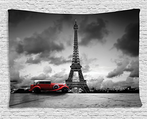 France Street Scene (Eiffel Tower Decor Tapestry by Ambesonne, Artistic Image Of Effel Tower, Paris, France And Vintage Car Street Dark Clouds, Wall Hanging for Bedroom Living Room Dorm, 60 W X 40 L Inches, Grey and Red)