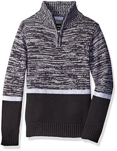 Calvin Klein Little Boys' Color Block Marled Sweater, Black, Small (Calvin Klein 1 4 Zip Sweater)