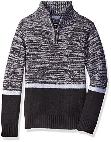 Calvin Klein Big Boys' Color Block Marled Sweater, Black, Large