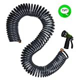 """YeStar Expandable Portable 75Ft Garden Coil Hose, 3/4"""" Solid Brass Fittings/Leak proof Connector"""