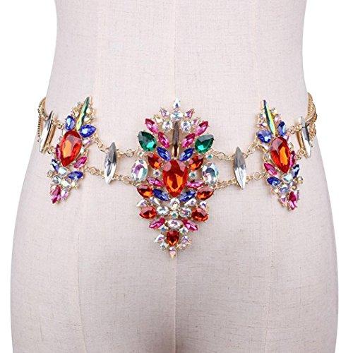 (Women Crystal Rhinestone Bling Statement Body Waist Chain Belt Clubwear Laimeng_World (Red) )