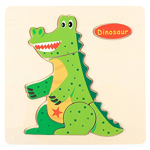 Amaping Wooden Puzzle Sets for Children Age 1-5 Years Old Preschool Jigsaw Puzzles Learning Educational Animal Puzzle Jigsaw Present Baby Kids Cognition Training Toy (Dinosaur)