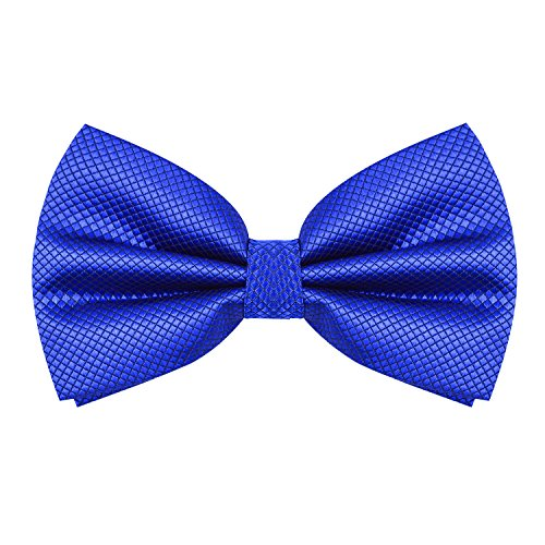 Men's Solid Formal Banded Bow Ties (Royal Blue)]()