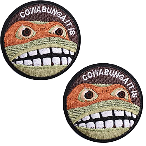 AXEN Cowabunga It is Patches Embroidered Iron-on Badge Patches, Iron On Sew On Emblem Patches DIY Accessories, Pack of 2