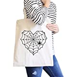 365 Printing Spider Web Halloween Canvas Tote Bag Heavy Cotton Washable Bag Gift