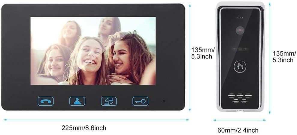 Reino Unido tel/éfono de videoportero a prueba de agua de visi/ón nocturna por infrarrojos Timbre de video LCD TFT de 7 pulgadas kit de timbre de videoportero de seguridad para el hogar
