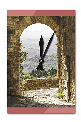 Tuscany, Italy - Old Arch with Landscape in Background - Photography A-92492 (Acrylic Wall Clock)