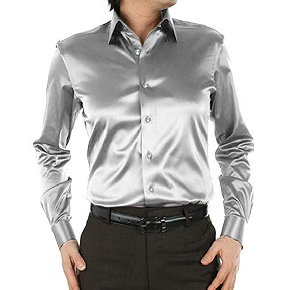 K-Men Mens Slim//Regular Fit Long Sleeve Shiny Satin Silk Button Down Dress Shirt