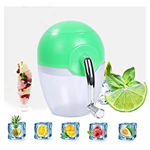Longteck® Ice Cream Slushie Cocktail Cold Drinks Container Mini Crushed Ice Maker Shaved Ice Machine NO Electrical Power for Home Kitchen (Green)
