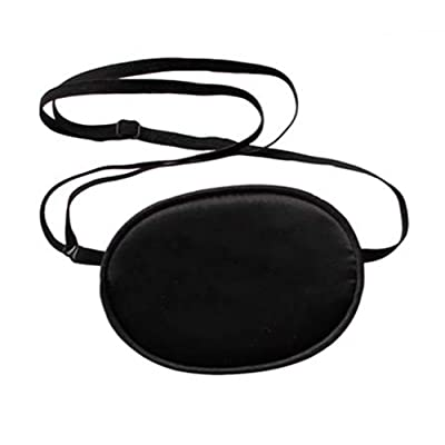 2 Pcs Adjustable Silk Pirate Eye Patches Black Soft and Comfortable Single Eye Mask for Adult Kids' Amblyopia Strabismus Lazy Eye (Adult Size)