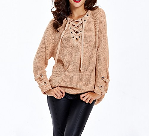 Pullover Autumn Knit Sweater Albicocca Ahatech Woman Casual Sexy Long Winter Sleeve UWHZnC7Z