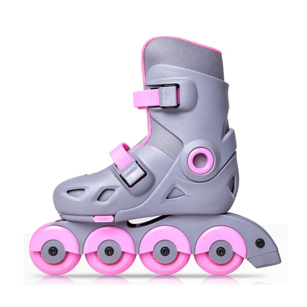 スケートローラースケート子供ユニセックス調節可能なコードストレートプーリーの靴初心者 (Color : A, Size : L)