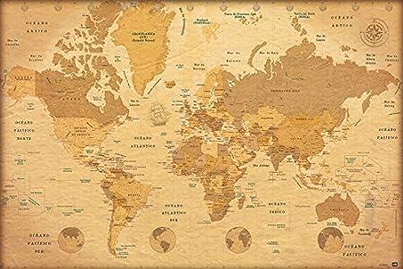 Grupo Erik Editores Poster Mapa Mundo Vintage: Amazon.es: Oficina y papelería