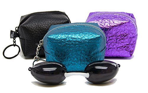 Glamour Eyes Tanning Goggles By Designer Skin - With Keychain Pouch - Choose Color! (Black)