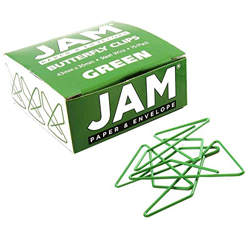(JAM PAPER Colorful Butterfly Clips - Green Paperclips - 15/Pack )