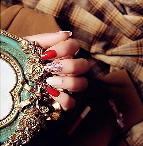 Pack de 24 uñas postizas Mimei, rojas y blancas con etiquetas adhesivas, elegantes y brillantes: Amazon.es: Belleza