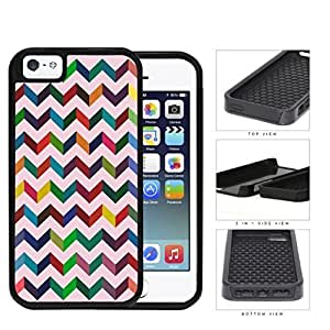 3 Dimensional Chevron In Multiple Colors 2-Piece Dual Layer High Impact Rubber Silicone Cell Phone Case Apple iPhone 5 5s