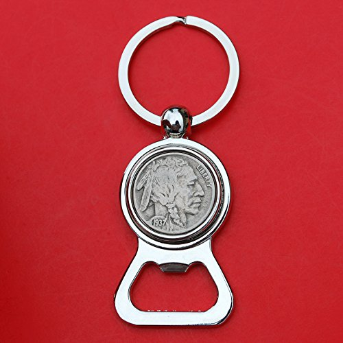 - US 1937 Indian Head Buffalo Nickel 5 Cent Coin Silver Tone Key Chain Ring Bottle Opener NEW