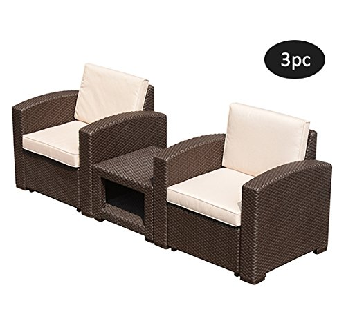 Outsunny 3 Piece Rattan Style Resin Wicker Outdoor Arm Chair & Side Table Set - Brown