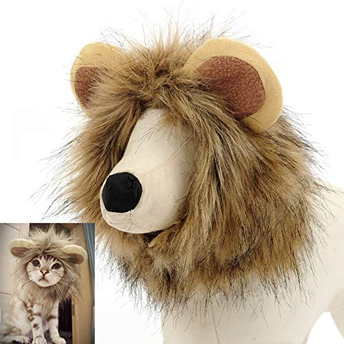 Fast and Good Adorables Lion Mane Costume for Cat Dog - Funny Adjustable Pet Lion Wig Clothes for Halloween Christmas Party -