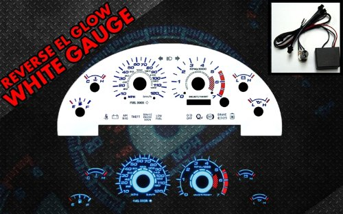Brand New White Face Blue Indigo Reverse Glow Gauges For 99-04 Mustang V6 (I-116) (Reverse Glow Gauge White)
