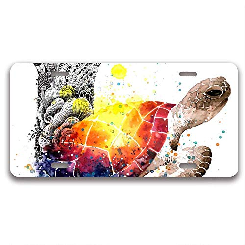 luckmx License Plate Frame, Watercolour Turtle with Gouache Metal Waterproof License Plate Covers Car Plate Frame Design Car Tag Frame