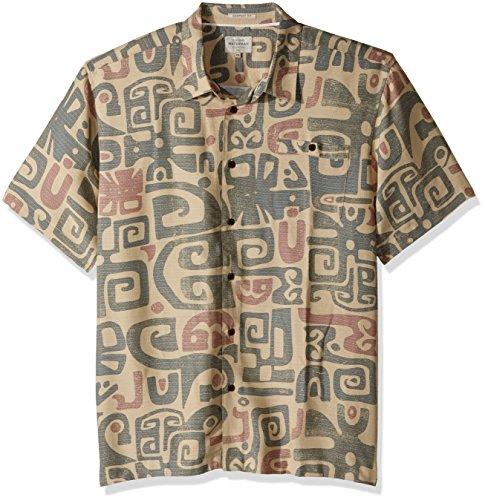 Quiksilver Waterman Men's Olowalu Comfort Fit Hawaiian Shirt, Khaki, XXL