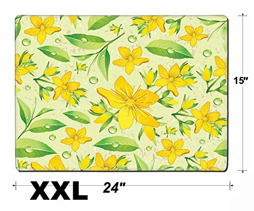 Liili Extra Large Mouse Pad XXL Extended Non-Slip Rubber Gaming Mousepad 24x15 Inch, 3mm thick Stitched Edge Desk Mat Elegance Seamless beige and Hypericum with green tea IMAGE ID 11289025