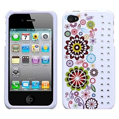 Smile Sunflower Phone Protector Faceplate Cover with Diamonds For APPLE iPhone 4S/4/4G - Diamond Protector Faceplate