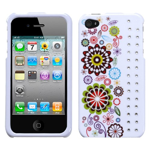 Smile Sunflower Phone Protector Faceplate Cover with Diamonds For APPLE iPhone 4S/4/4G (Iphone 4 Diamond Sunflower Case)