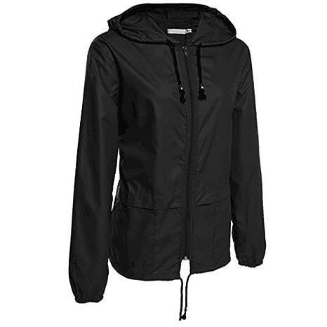 Romanstii Womens Lightweight Jacket Waterproof Raincoat Outdoor Hooded Windproof Zipped Windbreaker with A Carry Pouch