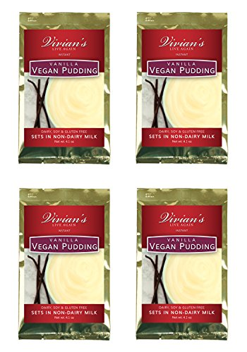 Vegan Creamy Vanilla Pudding by Vivian's Live Again 4 pk Dairy Free, Soy Free, Gluten Free, Nut & Peanut Free (Soy Dairy Free)