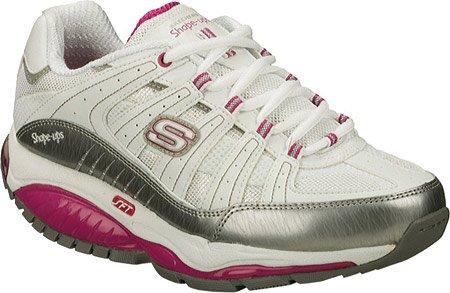 Skechers Women's Shape Ups Kinetix Response Fashion Sneaker,White/Silver/Pink,8.5 M (Skechers Shape)