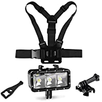 SHOOT Outdoor Diving Light Accessories Kit for GoPro Hero 7/6/5/4/3+/3/5 Session/4 Session/Hero(2018)/Fusion AKASO DBPOWER Crosstour FITFORT Camera Sports Underwater LED Flashlight Chest Strap