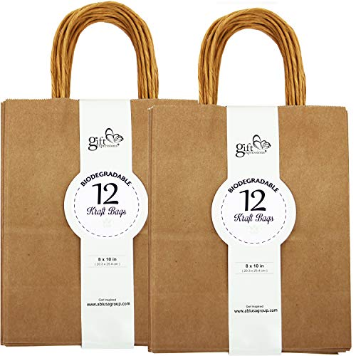 24CT MEDIUM BROWN BIODEGRADABLE, FOOD SAFE INK & PAPER, PREMIUM QUALITY PAPER (STURDY & THICKER), KRAFT BAG WITH COLORED STURDY HANDLEs (Medium, Brown)