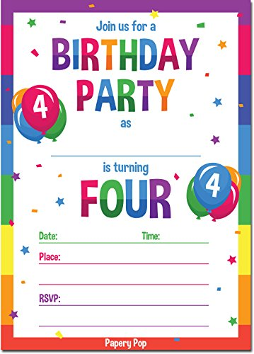 4th Birthday Party Invitations with Envelopes (15 Count) - 4 Year Old Kids Birthday Invitations for Boys or Girls - Rainbow by Papery Pop