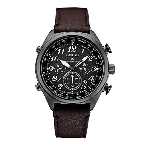 - Seiko Men's Prospex Radio Sync Solar Brown Leather Strap Watch