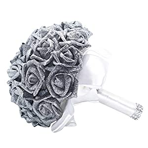 ClearanceQuaanti Wedding Bridal Bouquet,Handmade Crystal Roses Pearl Wedding Bridesmaid Bouquet, Bridal Artificial Silk Flowers for Wedding (Silver) 57