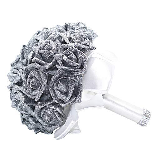 ClearanceQuaanti Wedding Bridal Bouquet,Handmade Crystal Roses Pearl Wedding Bridesmaid Bouquet, Bridal Artificial Silk Flowers for Wedding (Silver)
